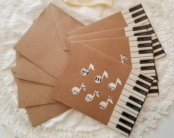 Piano Key and Sheet Music Note Cards, Sheet Music Notes, Vintage Sheet Music Note Cards, Musician Gift, Piano Teacher Gift, MarjorieMae