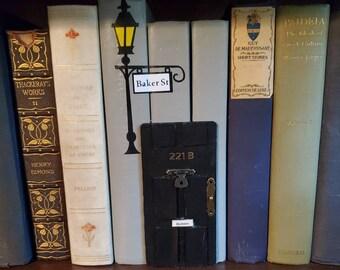 Sherlock Holmes Inspired Book Nook Door, Book Art, Book Decor, 221B Door, Bookshelf Insert, Fandom, Book Nook, Ready to Ship, MarjorieMae