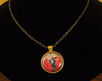 Stamp Jewelry, Stamp Necklace, Vintage Stamp, Stamp Pendant, Pendant Necklace, One of a Kind, Johnny Appleseed Stamp, MarjorieMae