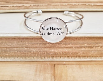 Alice In Wonderland Book Page Bracelet, Alice Bracelet, The Hatter, Real Book Page, Silver, Ready to Ship, Book Nook, MarjorieMae