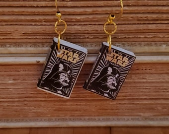 Star Wars Book Earrings, Mini Book Earrings, Star Wars Book Cover Earrings, Ready to Ship, Book Nook MarjorieMae