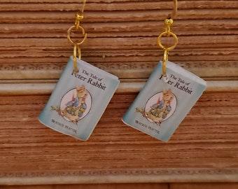 Peter Rabbit Book Earrings, Mini Book Earrings, Peter Rabbit Book Cover Earrings, Ready to Ship, Book Nook MarjorieMae