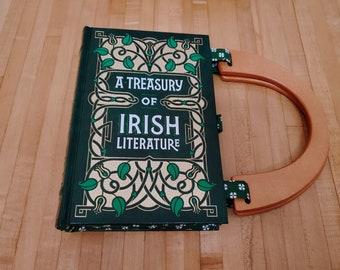 Irish Literature Book Purse, Leather Book Purse, Special Occasion Purse, Unique Formal Purse, Ireland, Ready to Ship, Book Nook, MarjorieMae