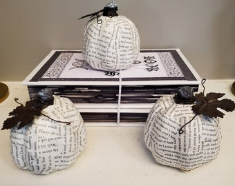 Book Page Pumpkin, Real Book Page Pumpkin, Ceramic Pumpkin, Fall Decoration, Halloween Decoration, Ready to Ship, Book Nook MarjorieMae