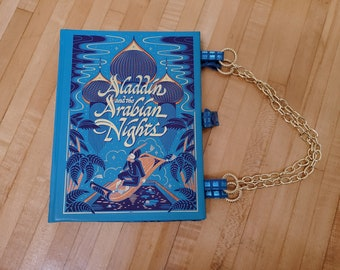 Aladdin And The Arabian Nights Book Purse, Leather Book Purse, Special Occasion Purse, Unique Formal Purse, Ready to Ship, MarjorieMae