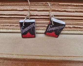 Frankenstein Book Earrings, Mini Book Earrings, Frankenstein Book Cover Earrings, Book Nook, Reader Gift, Ready to Ship, MarjorieMae