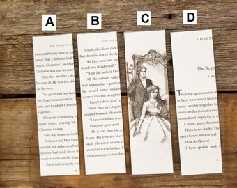 Phantom of the Opera Book Page Bookmarks, Real Book Page Bookmarks, Gaston Leroux, Book Nook, Book Excerpt Bookmarks, Book Gift, MarjorieMae