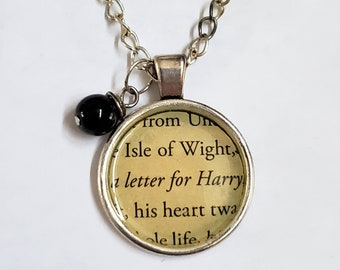 Harry Potter Book Page Necklace, Real Book Page, Letter for Harry, Reader Gift, Book Gift, Book Page Pendant, Book Nook, MarjorieMae