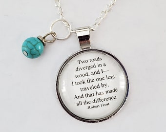 Robert Frost Quote Necklace, Two roads diverged in the wood, Book Nook, Ready to Ship, Poetry Necklace, Travel Quote, Wanderer, MarjorieMae