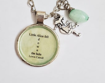 Alice in Wonderland Charm and Quote Necklace, Alice Charm, Bookish, Ready to Ship, Book Quote, Lewis Carroll, Book Nook, MarjorieMae