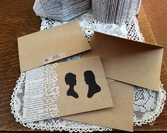 Pride and Prejudice Note cards, Blank Note cards, Book Page Note Cards, Elizabeth and Darcy, Stationary, Set of 4, Book Nook, MarjorieMae