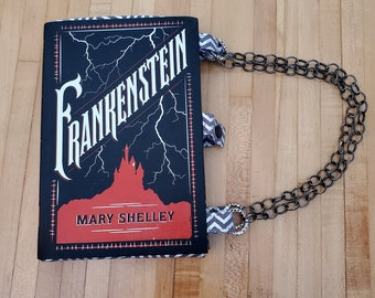 Frankenstein Book Purse, Faux Leather Book Purse, Special Occasion Purse, Unique Formal Purse, Mary Shelley, Ready to Ship, MarjorieMae