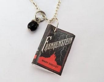 Frankenstein Mini Book Necklace, Mary Shelley, Miniature Book Necklace, Book Charm, Book Nook, Ready to Ship, MarjorieMae