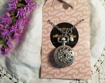Silver Filigree Pocket Watch Necklace, Working Watch, Long Necklace, Watch Pendant, Clock Necklace, Pearl, Timepiece, MarjorieMae