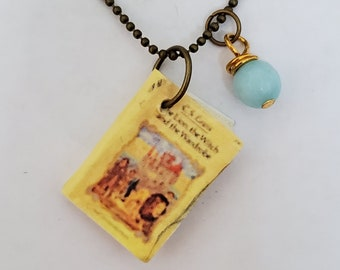 Lion The Witch and The Wardrobe Mini Book Necklace, C.S. Lewis, Miniature Book Necklace, Book Charm, Book Nook, Ready to Ship, MarjorieMae