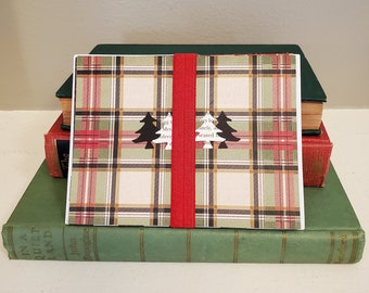 Plaid Winter Note Cards, Book Page Detail, Christmas. Blank Note Cards, Set of 4, Theme Envelopes, Ready to Ship, Book Nook Marjorie