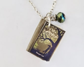 To Kill a Mockingbird Mini Book Necklace, Book Necklace, Miniature Book, Reader Gift, Book Charm, Book Nook, Ready to Ship, MarjorieMae