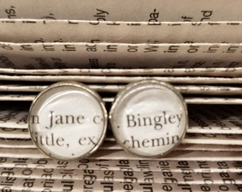 Pride and Prejudice Book Page Earrings, Real Book Page Earrings, Jane and Bingley, Jane Austen, Stud Book Earrings, Book Nook, MarjorieMae