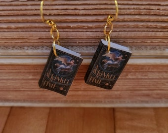 A Wrinkle in Time Book Earrings, Mini Book Earrings, A Wrinkle in Time Book Cover Earrings, Ready to Ship, Book Nook MarjorieMae