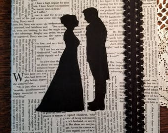 Pride and Prejudice Journal, Book Page Journal, Lined Blank Journal, Jane Austen, Book Nook, Silhouette, Journaling, MarjorieMae