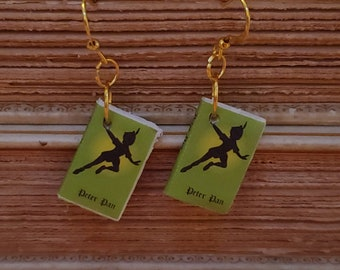 Peter Pan Book Earrings, Mini Book Earrings,Peter Pan Book Cover Earrings, Ready to Ship, Book Nook MarjorieMae