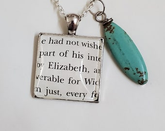 Pride and Prejudice Book Page Necklace, Real Book Page, Elizabeth Necklace, Reader Gift, Book Page Pendant, Book Nook, MarjorieMae