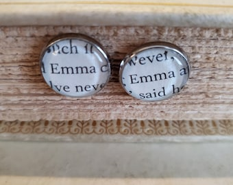 Emma Book Page Earrings, Real Book Page Earrings, Jane Austen, Bookish Earrings, Stud Earrings, Ready to Ship, Book Nook, MarjorieMae