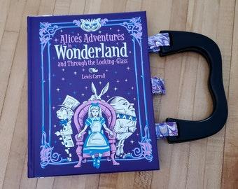 Alice in Wonderland Book Purse, Leather Book Purse, Special Occasion Purse, Unique Formal Purse, Ready to Ship, MarjorieMae