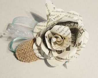 Book Page Flower Girl Wrist Corsage, Book Theme Wedding, Book Page Rose Corsage, Book Wedding Corsage, Personalized Corsage, MarjorieMae