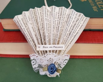 Pride and Prejudice Book Page Fan Ornament, Christmas Decoration, Book Page Tree Ornament, Ready to Ship, Book Nook MarjorieMae