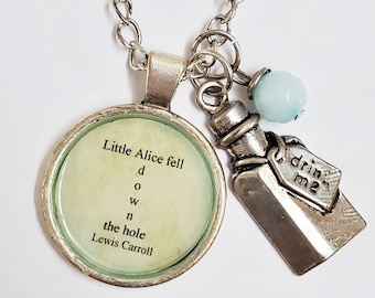 Alice in Wonderland Charm and Quote Necklace, Drink Me Charm, Bookish, Ready to Ship, Book Quote, Lewis Carroll, Book Nook, MarjorieMae