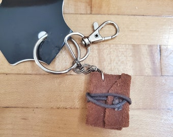 Leather Journal Book Keychain, Mini Book Keychain, Reader Keychain, Ready to Ship, Bookish Keychain, Swivel Clasp, Book Nook, MarjorieMae
