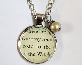 Wizard of Oz Book Page Necklace, Real Book Page, Dorothy, The Witch, Reader Gift, Book Page Pendant, Book Nook, Ready to Ship, MarjorieMae