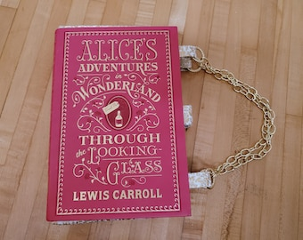 Alice in Wonderland Book Purse, Faux Leather Book Purse, Special Occasion Purse, Unique Formal Purse, Ready to Ship,Book Nook MarjorieMae