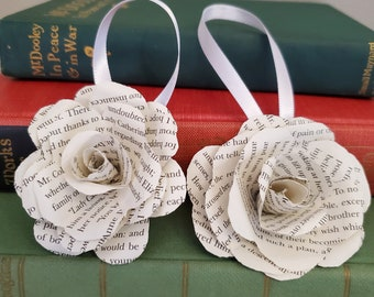 Book Page Flower Ornaments, Set of Two Ornaments, Christmas Decoration, Bookish Decor, Ready to Ship, Book Nook MarjorieMae