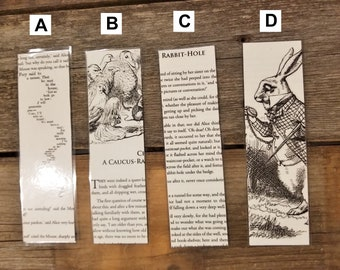 Alice in Wonderland Book Page Bookmarks, Real Book Page Bookmarks, Lewis Carroll, Book Nook, Book Excerpt Bookmarks, Book Gift, MarjorieMae