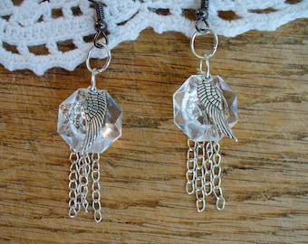 Vintage Crystal Earrings,Drop Crystal Earrings, Wing Earring, Silver Earrings, Silver Drop, Crystal Earrings, Affordable, by Marjorie Mae