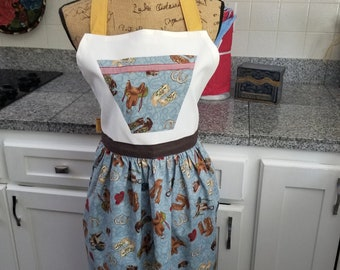 Western Apron, Cowgirl Apron, Saddles, Boots, Horseshoes, Full Apron, Blue and Brown, One of a Kind, Ready to Ship, MarjorieMae