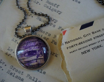 Stamp Jewelry, Stamp Necklace, Vintage Stamp, Stamp Pendant, Pendant Necklace, One of a Kind, Trucking Industry Stamp, MarjorieMae