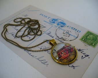 Stamp Jewelry, Stamp Necklace, Vintage Stamp, Stamp Pendant, Pendant Necklace, One of a Kind, Stage Coach Stamp, MarjorieMae