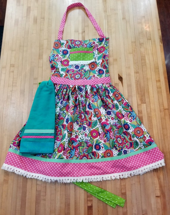 defd1f4654d4 Bohemian Apron Floral Apron with Dish Towel Pink and Teal