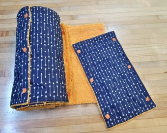 Un Paper Towel, 18 Towels, Navy and White Arrow Pattern on Orange Microfiber, Convenient Select a Size, Re-Usable Towels, MarjorieMae