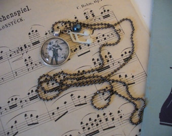 Dance Necklace, Dancing Couple Necklace, Music Note Necklace, Vintage Style Photo Necklace, Dancer Necklace, Silver Bead Chain, MarjorieMae
