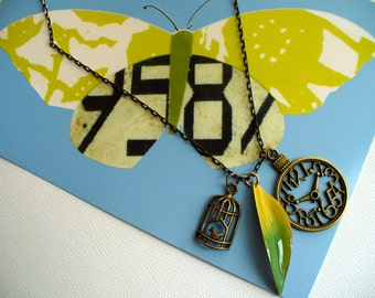 Antique Gold Clock Necklace, Bird Cage Nacklace, Enameled Leaf  Pendant Necklace, Charm Necklace, Affordable Necklace, Marjorie Mae
