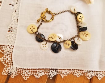 Vintage Black White and Cream Buttons on Antique Gold Chain Bracelet, Toggle Clasp, Vintage Buttons, One of a Kind, MarjorieMae