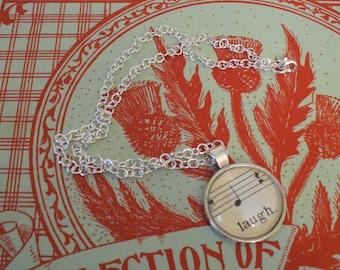 Vintage Sheet Music Necklace, Music and Dance, Re-Purposed Necklace, Music Note Necklace, Laugh Necklace, Sheet Music, MarjorieMae
