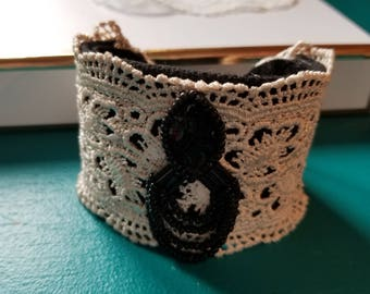 Vintage Black Bead Earring Lace Cuff Bracelet, Re-Purposed Vintage Piece, Lace Cloth Cuff, One of a Kind, Up-Cycled, MarjorieMae