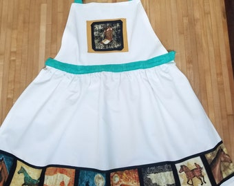 Western Apron, Cowgirl Apron, Horse Apron,  Turquoise and White Apron, Canvas Apron, Full Apron, One of a Kind, Ready to Ship, MarjorieMae