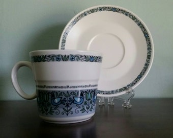 Noritake Felicity Cup and Saucer, Mid Century Bird Pattern in blue, green, grey