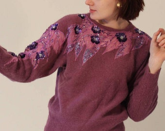 Vintage Sweater 80s Sweater Purple Sweater Floral Sweater Womens Sweater Sequin Sweater Sheer Sweater Small Sweater Medium Sweater Lavender
